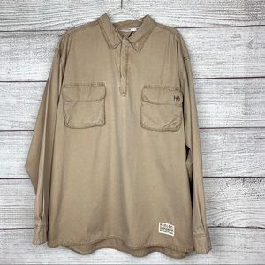 Harley-Davidson Half Zip Khaki Long Sleeve Shirt